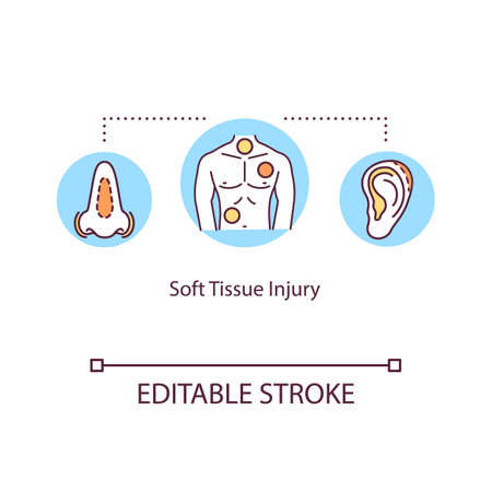 Soft tissue injury, muscle trauma concept icon. Tendon traumatism, damage types, strain, bruising and tendinitis idea thin line illustration. Vector isolated outline RGB color drawing. Editable stroke