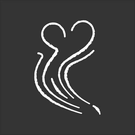 Odor chalk white icon on black background. Good smell. Aroma swirl with heart shape. Nice perfume scent wave. Aromatic fragrance flow. Steam curl, evaporation. Isolated vector chalkboard illustration