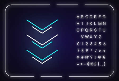 Three down arrows neon light icon. Page browsing direction, download. Website pointer. Outer glowing effect. Sign with alphabet, numbers and symbols. Vector isolated RGB color illustration