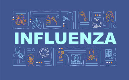 Influenza word concepts banner. Lung pain. Respiratory problem. Cough syrup. Infographics with linear icons on deep blue background. Isolated typography. Vector outline RGB color illustration