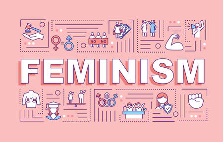 Feminism word concepts banner. Feminist movement. Womens rights protection. Activism. Infographics with linear icons on pink background. Isolated typography. Vector outline RGB color illustration