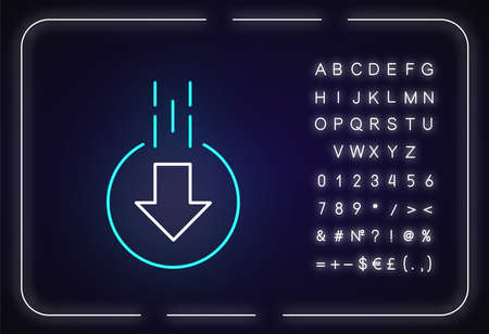 Down arrow in circle neon light icon. Moving arrowhead in round shape. Scrolldown button. Outer glowing effect. Sign with alphabet, numbers and symbols. Vector isolated RGB color illustration