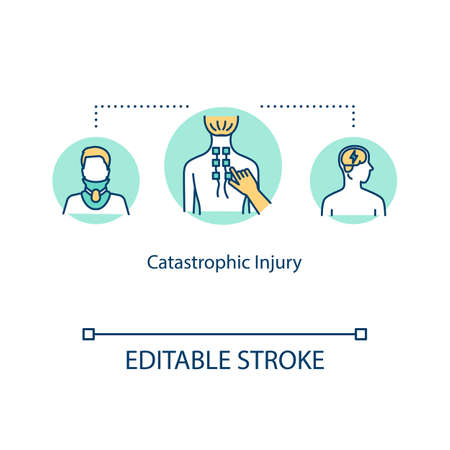 Catastrophic injury, spinal trauma concept icon. Anatomical abnormality, paralysis, cerebral contusion idea thin line illustration. Vector isolated outline RGB color drawing. Editable stroke