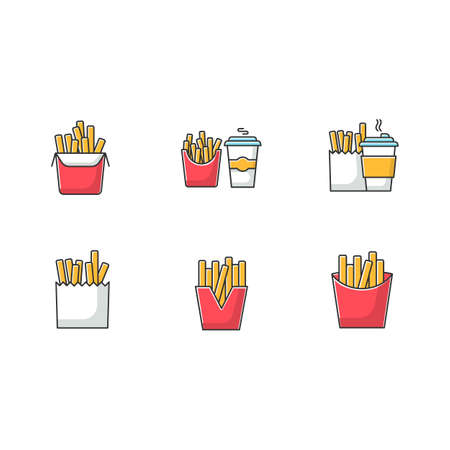 French fries RGB color icons set. Fast food cafe menu. Fried potato in takeout paper packages. Take away meal and coffee to go. Isolated vector illustrations