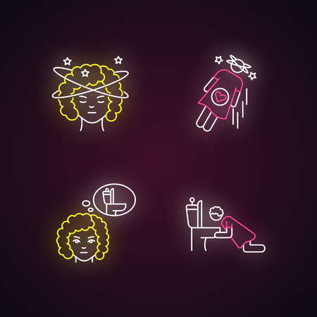 Early pregnancy symptom neon light icons set. Lady with dizziness. Vomiting from nausea. Sick from food poisoning. Signs with outer glowing effect. Vector isolated RGB color illustrations
