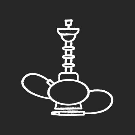 Hookah chalk white icon on black background. Sheesha house. Traditional shisha. Nargile lounge. Odor from pipe. Scent of vaporizing. Smoking area. Isolated vector chalkboard illustration