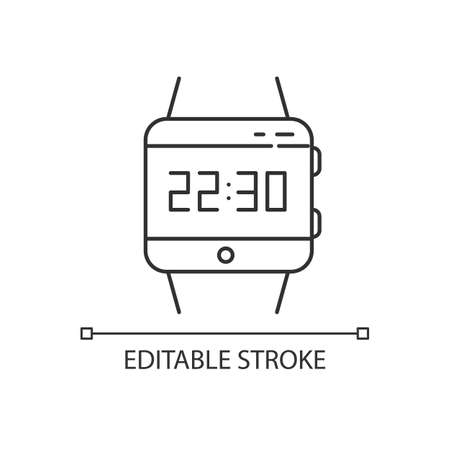 Wrist smartwatch pixel perfect linear icon. Smart watch. Digital wristwatch. Fitness tracker. Thin line customizable illustration. Contour symbol. Vector isolated outline drawing. Editable stroke Ilustrace