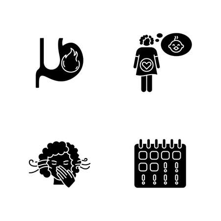 Early pregnancy symptom black glyph icons set on white space. Heartburn in stomach. Feeling pregnant. Smell sensitivity. Maternity, fertility. Silhouette symbols. Vector isolated illustration