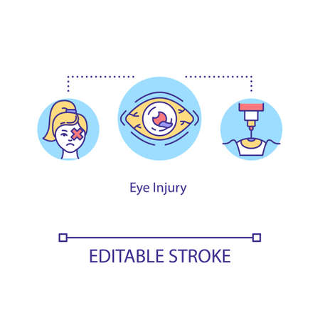 Eye injury, traumatism concept icon. Ophthalmology, physical and chemical traumas, closed and open globe injury idea thin line illustration. Vector isolated outline RGB color drawing. Editable stroke Ilustração