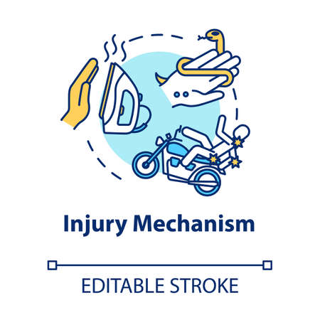 Injury mechanism, trauma factors concept icon. Traumatism, iron burn and traffic accident, snakebite thin line illustration. Vector isolated outline RGB color drawing. Editable stroke