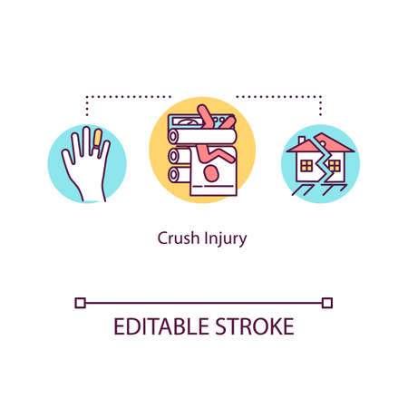 Crush injury, body compression concept icon. Traumatism, industrial accident, building collapse idea thin line illustration. Vector isolated outline RGB color drawing. Editable stroke
