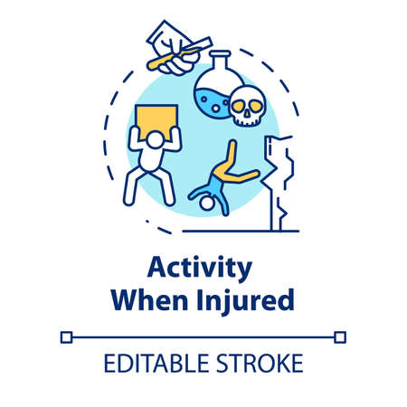 Activity when injured concept icon. Work and safety regulations non-compliance, physical and chemical factors thin line illustration. Vector isolated outline RGB color drawing. Editable stroke