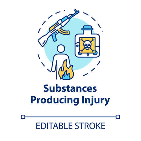 Substances producing injury, trauma causes concept icon. Gun and poison effect, fire result, gunshot wound and burn thin line illustration. Vector isolated outline RGB color drawing. Editable stroke Ilustrace