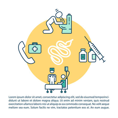 Snakebite treatment concept icon with text. Intoxication first aid, poisoning therapy PPT page vector template. Brochure, magazine, booklet design element with linear illustrations