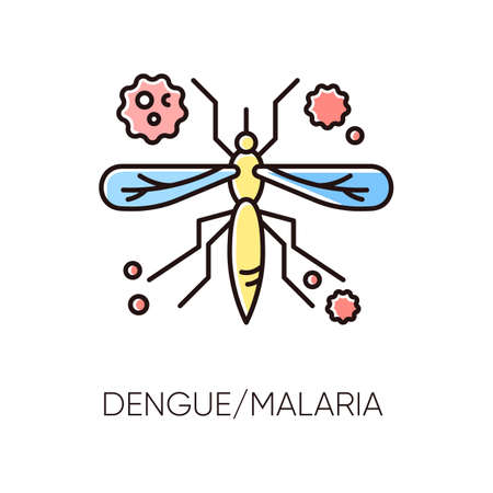 Dengue, malaria RGB color icon. Tropical infectious disease, dangerous mosquito borne illness. Exotic viral sickness. African blood sucking insect, virus carrier isolated vector illustration