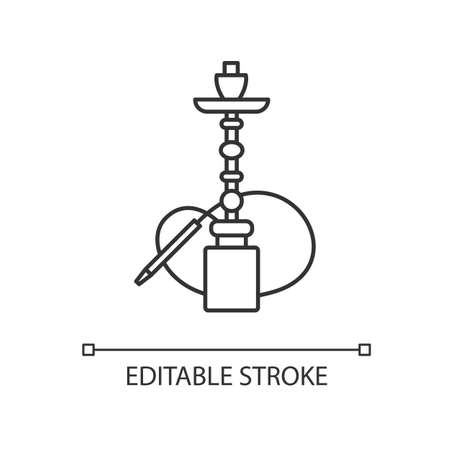 Hookah pixel perfect linear icon. Sheesha house. Water pipe, bong. Nargile lounge. Thin line customizable illustration. Contour symbol. Vector isolated outline drawing. Editable stroke Illustration