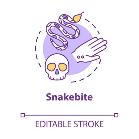 Snakebite, injury, bitten wound concept icon. Reptile bite, toxic poison, danger, health hazard idea thin line illustration. Vector isolated outline RGB color drawing. Editable stroke