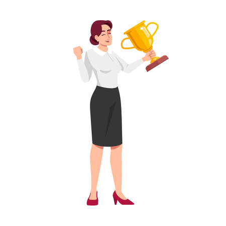 Long awaited prize semi flat RGB color vector illustration. Businesswoman excited with golden trophy isolated cartoon character on white background. Winning in business competition concept