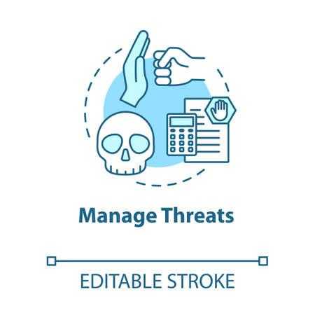 Manage threats concept icon. Self-building and development. Handling crisis. System malware. Achieve goals idea thin line illustration. Vector isolated outline RGB color drawing. Editable stroke
