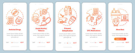 Cure flu onboarding mobile app page screen with concepts. Medication for flu. Relax and sleep. Remedy walkthrough 5 steps graphic instructions. UI vector template with RGB color illustrations