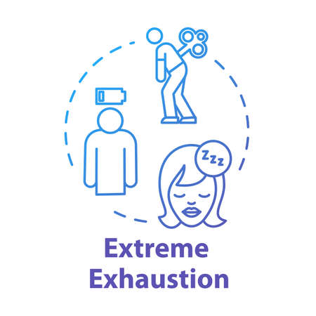 Extreme exhaustion concept icon. Woman without energy. Overwork and burnout. Cold symptom. Chronic weakness. Fatigue idea thin line illustration. Vector isolated outline RGB color drawing Illustration