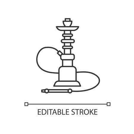 Hookah pixel perfect linear icon. Sheesha house. Flavored turkish hooka. Nargile lounge. Thin line customizable illustration. Contour symbol. Vector isolated outline drawing. Editable stroke