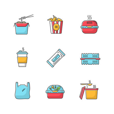 Takeaway food packages RGB color icons set. Noodles, bucket of wings. Burger box, coffee to go, bar, plastic container. Bag with handles, snack. Takeout fastfood. Isolated vector illustrations
