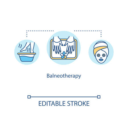 Balneotherapy concept icon. Spa therapy idea thin line illustration. Therapeutic use of water. Mineral water treatment. Vector isolated outline RGB color drawing. Editable stroke Vektorgrafik