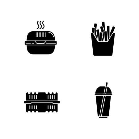 Takeaway food packages black glyph icons set on white space. Burger cardboard box, plastic container, disposable cup with straw, french fries pack. Silhouette symbols. Vector isolated illustration
