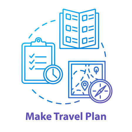 Make travel plan concept icon. Organized tour schedule, vacation organization idea thin line illustration. Unexpected expenses prevention. Vector isolated outline RGB color drawing Ilustração