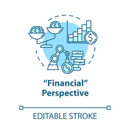Financial strategies concept icon. Stock prospect. Capital growth. Accounting for income. Self-building idea thin line illustration. Vector isolated outline RGB color drawing. Editable stroke