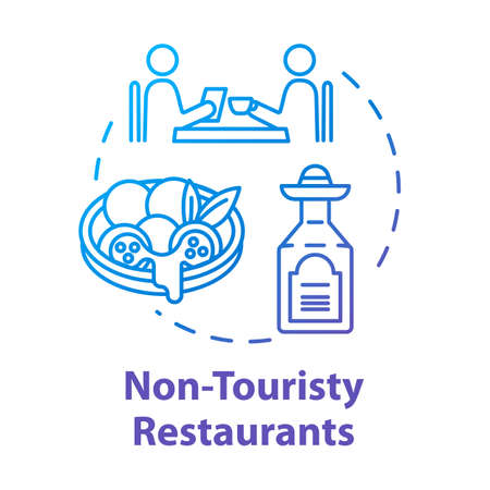 Non touristy restaurants concept icon. Inexpensive lunch, affordable dinner idea thin line illustration. Money saving option for tourists. Vector isolated outline RGB color drawing Çizim