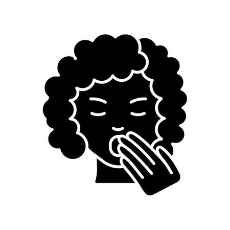 Drowsiness black glyph icon. Sleepy woman. Tired lady. Fatigue and burnout. Early symptom of pregnancy. Sleep deprivation. Insomnia sign. Silhouette symbol on white space. Vector isolated illustration