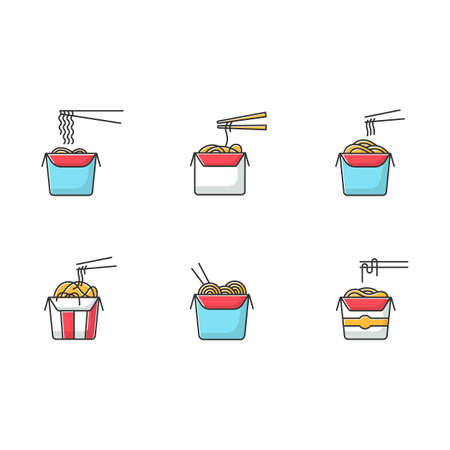 Take away noodles RGB color icons set. Chinese food to go. Wok cafe packages. Cardboard boxes with takeout asian meal and chopsticks. Isolated vector illustrations Illustration
