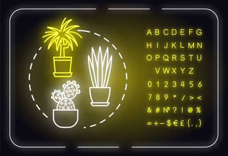 Easy to care plants neon light concept icon. Unpretentious indoor potted flowers. Succulents and cactuses idea. Outer glowing sign with alphabet, numbers and symbols. Vector isolated RGB color illustration
