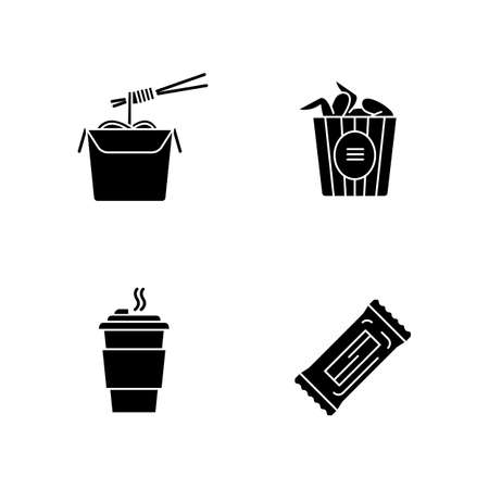 Takeaway food black glyph icons set on white space. Bucket of chicken wings, chinese noodles, coffee to go and snack bar. Take away meal menu. Silhouette symbols. Vector isolated illustration Illustration