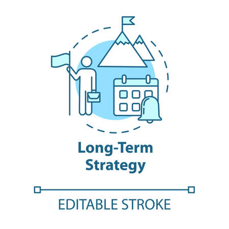 Long-term strategy concept icon. Building goals. Setting clear objective. Motivation, ambition. Smart planning idea thin line illustration. Vector isolated outline RGB color drawing. Editable stroke Иллюстрация