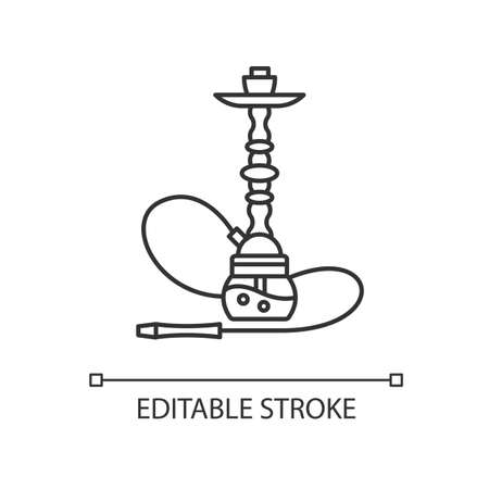 Hookah pixel perfect linear icon. Sheesha house. Object to inhale nicotine. Nargile lounge. Thin line customizable illustration. Contour symbol. Vector isolated outline drawing. Editable stroke