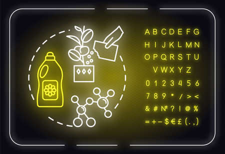 Balanced fertilizer neon light concept icon. Growing houseplants idea. Flowers caring. Home gardening. Outer glowing sign with alphabet, numbers and symbols. Vector isolated RGB color illustration Ilustración de vector