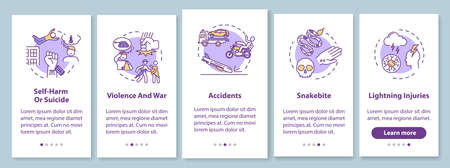 Injury causes onboarding mobile app page screen with concepts. Violence and accidents factors walkthrough 5 steps graphic instructions. UI vector template with RGB color illustrations Illustration