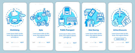 Transport onboarding mobile app page screen with concepts. Cycling. Driveaway car service. Cheap tourism walkthrough five steps graphic instructions. UI vector template with RGB color illustrations Illustration