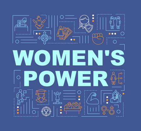 Feminism word concepts banner. Feminist movement. Womens rights protection. Activism. Infographics with linear icons on blue background. Isolated typography. Vector outline RGB color illustration
