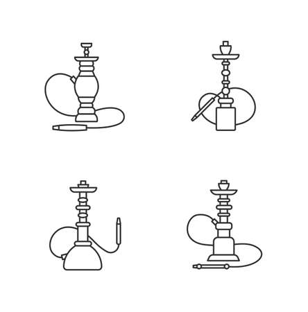 Hookah pixel perfect linear icons set. Nargila option. Sheesha house. Popular souvenir. Customizable thin line contour symbols. Isolated vector outline illustrations. Editable stroke Illustration