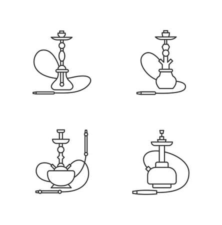 Hookah pixel perfect linear icons set. Ceremony utensil. Sheesha house. Nargile lounge. Customizable thin line contour symbols. Isolated vector outline illustrations. Editable stroke