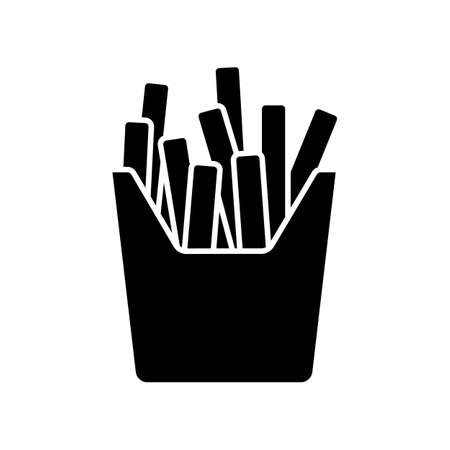 French fries black glyph icon. Fried potato, salty sticks in cardboard box. Takeaway fastfood package. Takeout meal in paper pack. Silhouette symbol on white space. Vector isolated illustration