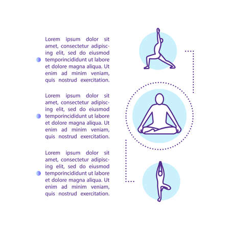 Yoga and meditation concept icon with text. Mindfulness practice. Relaxation technique. Breathing. PPT page vector template. Brochure, magazine, booklet design element with linear illustrations