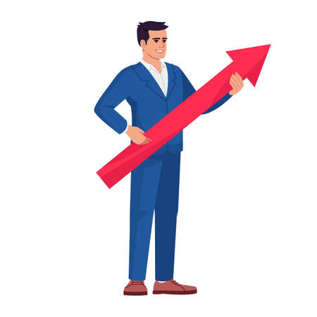 CEO offering company strategy semi flat RGB color vector illustration. Office worker, top manager with arrow isolated cartoon character on white background. Business delevopment vision concept Иллюстрация