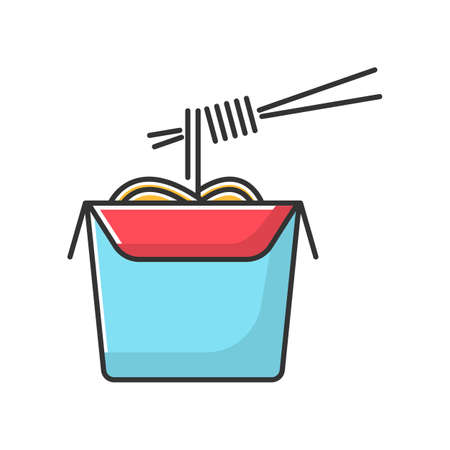 Chinese noodles blue RGB color icon. Wok cafe food cardboard box with chopsticks. Japanese spaghetti takeout. Take away meal paper package. Isolated vector illustration