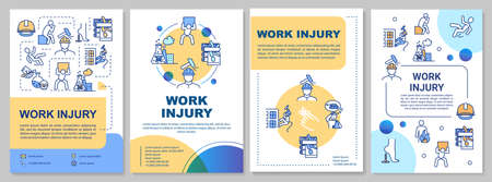 Work injury, industrial traumatism brochure template. Flyer, booklet, leaflet print, cover design with linear icons. Vector layouts for magazines, annual reports, advertising posters Ilustracja