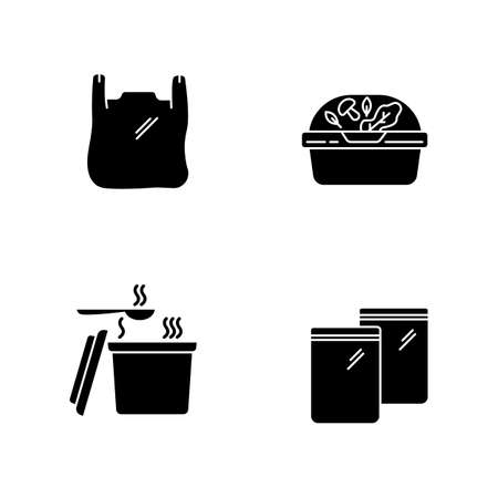 Takeout packages black glyph icons set on white space. Plastic bag with handles, container with lid for salad, zip packet, hot food takeaway package. Silhouette symbols. Vector isolated illustration Ilustrace